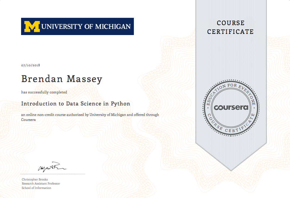 University Of Michigan Introduction To Data Science In
