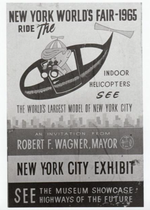 Black and white poster from the 1964–65 World's Fair advertising the helicopter tour style ride around the Panorama exhibit.