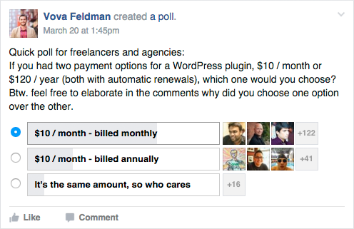 Advanced WordPress Poll About Monthly Payments