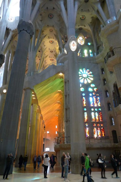 Light projected by stained glass windows in Sagrada Família