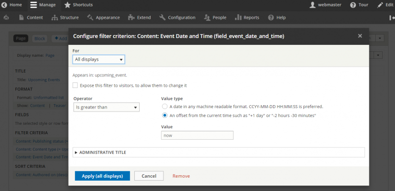 Drupal 8: How to hide upcoming events in views after event