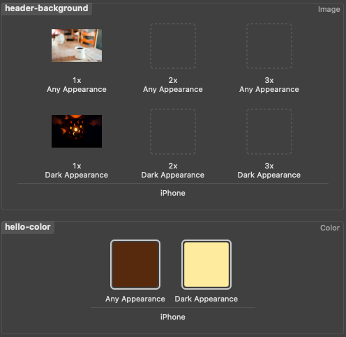 Setting image and color using asset catalog in Xcode