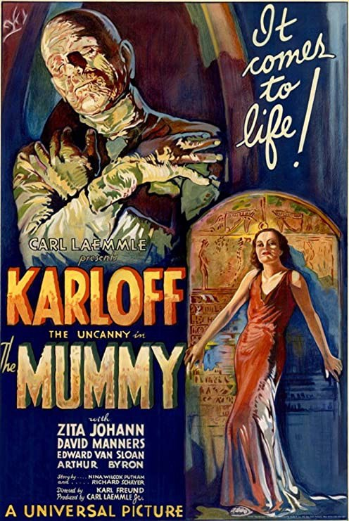 Colour poster for the film The Mummy starring Boris Karloff.