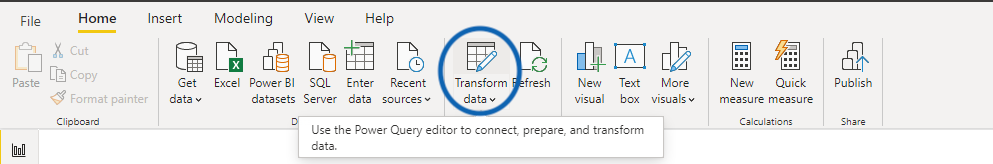 Transform data icon on the home ribbon