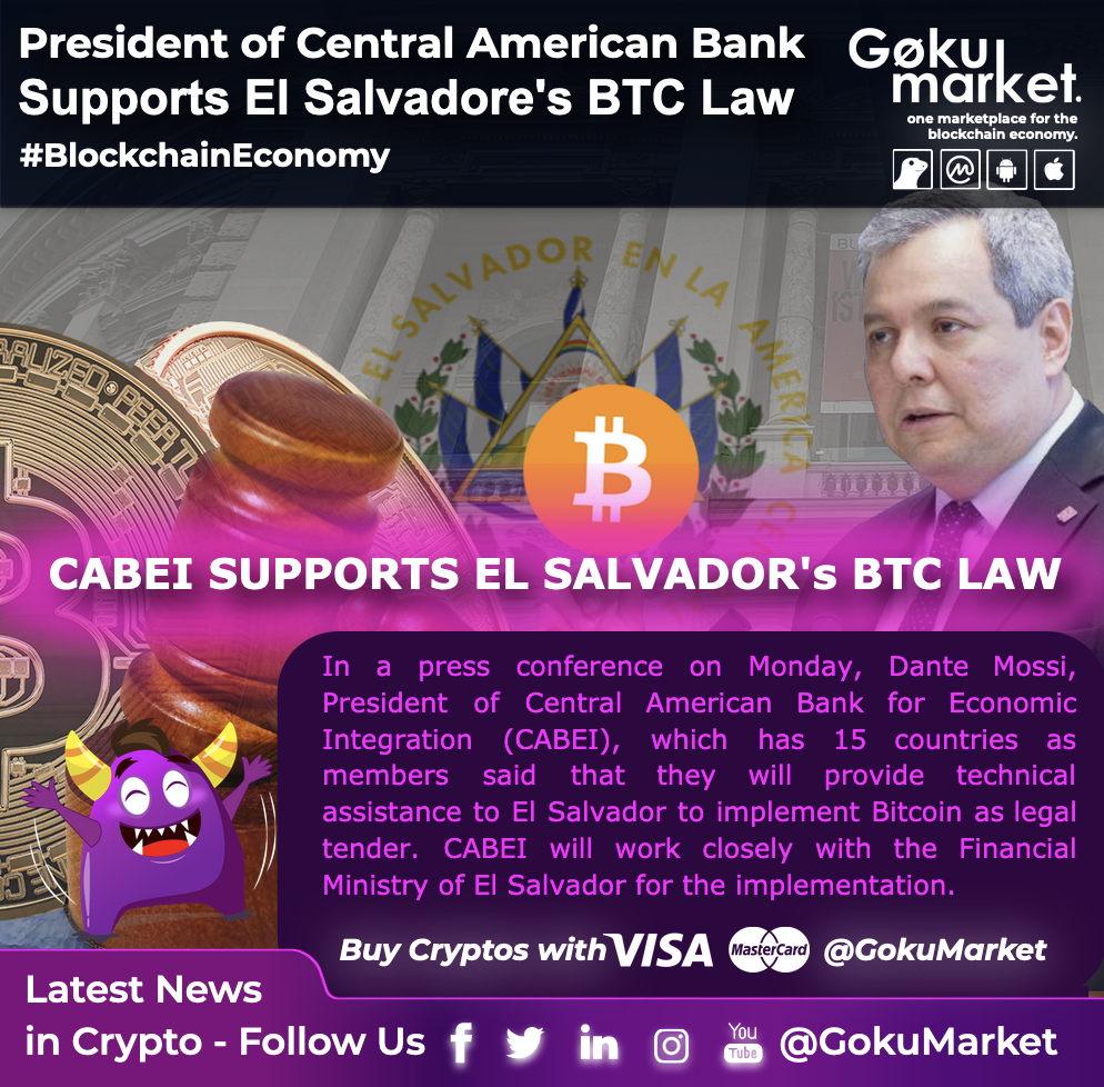 The Central American Bank for Economic Integration (CABEI) supports #ElSalvador's  Bitcoin Law