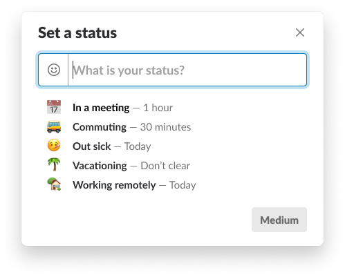 Screenshot: Our new custom status form, in its own modal