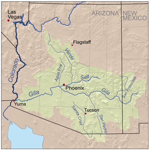 Map of the Gila River watershed