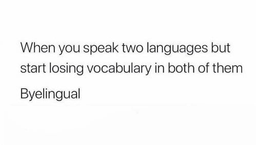 When you speak two languages but start losing vocabulary in both of them—Byelingual