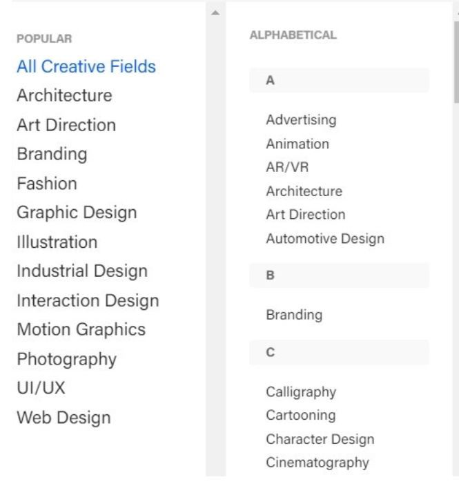 Behance search filters