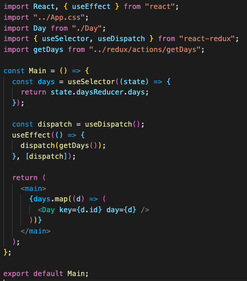 Main.js with redux