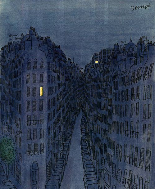 Illustration of a Paris street by night, in blues. Two lighted windows. By Sempé.