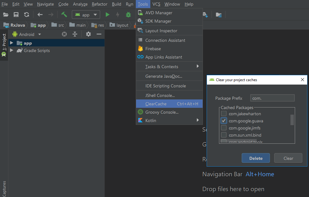 Android studio plugin to clear cache - ProAndroidDev