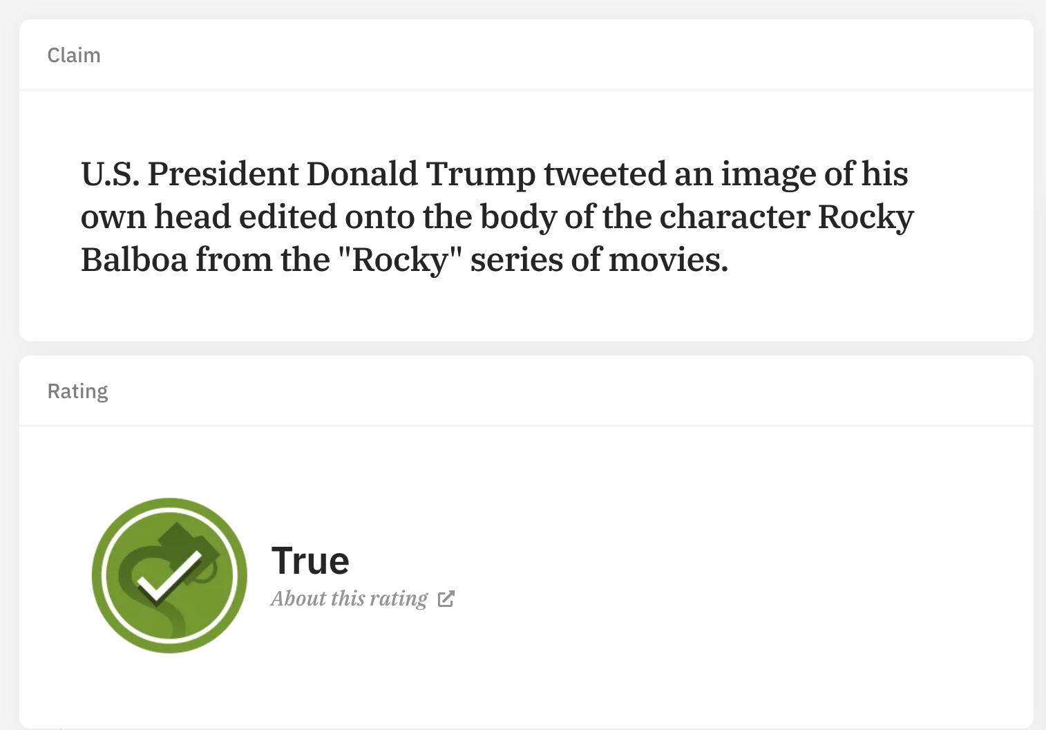 Screenshot of Snopes article on U.S. President Donald Trump's tweet of his own head on Rocky's body. It's true.