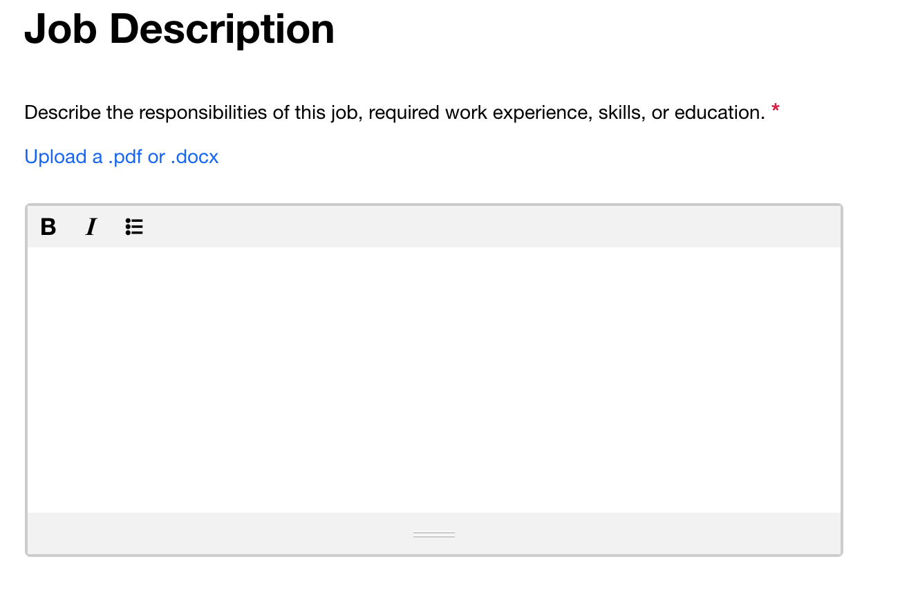 Screenshot of Indeed.com's empty Job Description input field, with no placeholder text