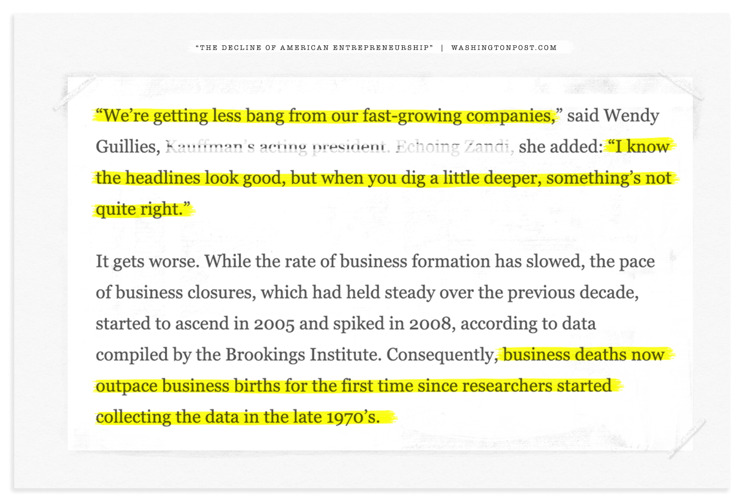 """Antiqued press clipping w/highlighter over quote """"…the headlines look good, but… dig deeper… something's not quite right."""""""