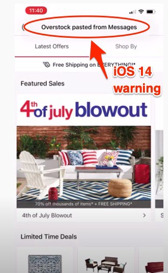A picture of the Overstock App with a pop-up reading Overstock pasted from Messages