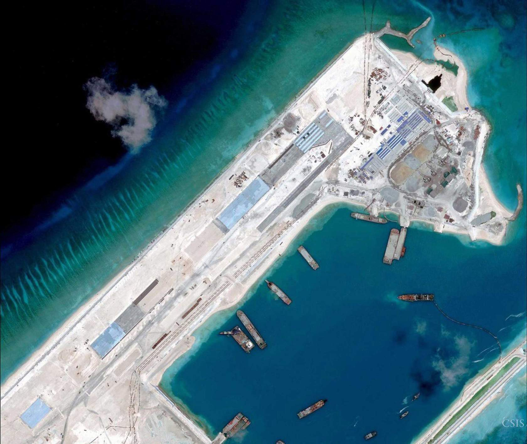 Airstrip on the Fiery Cross Reef in the South China Sea on April 2, 2015. CSIS Asia Maritime Transparency Initiative/DigitalGlobe photo