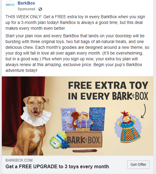 Facebook ad description example