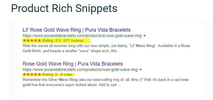 SEO Best practices - Product Rich Snippets