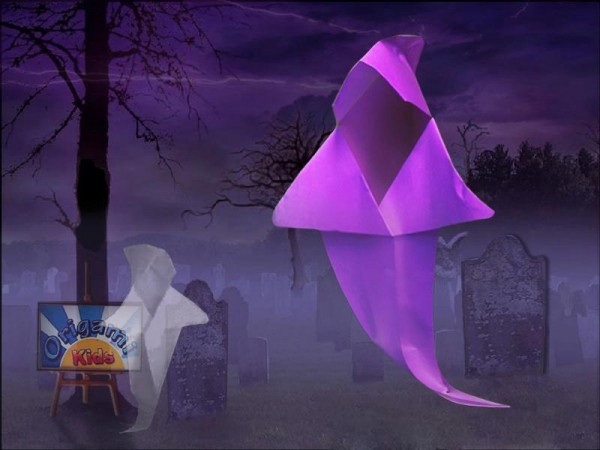 Origami Ghost - Origami Halloween - Origami Easy - YouTube | 450x600