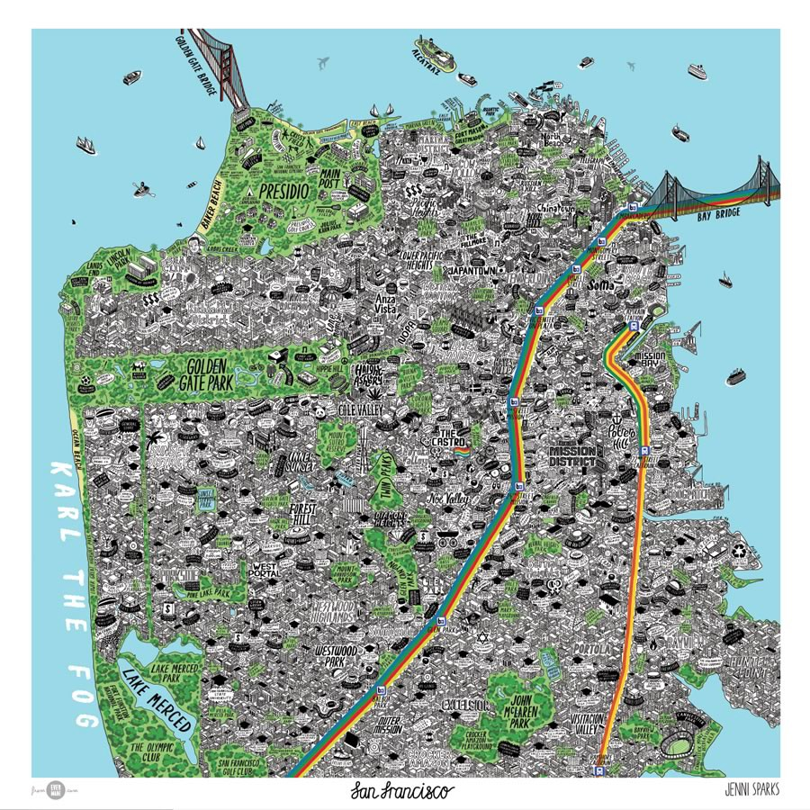 Mind-Blowingly Detailed Hand-Drawn Map of San Francisco on berkeley map, united states map, new york map, san diego, sydney australia map, sausalito map, california map, new orleans map, chicago map, tokyo map, los angeles map, northern ca map, golden gate park map, detroit map, kansas city map, boston map, omaha map, las vegas map, dallas map, london map, salt lake city map, bay area map, usa map,