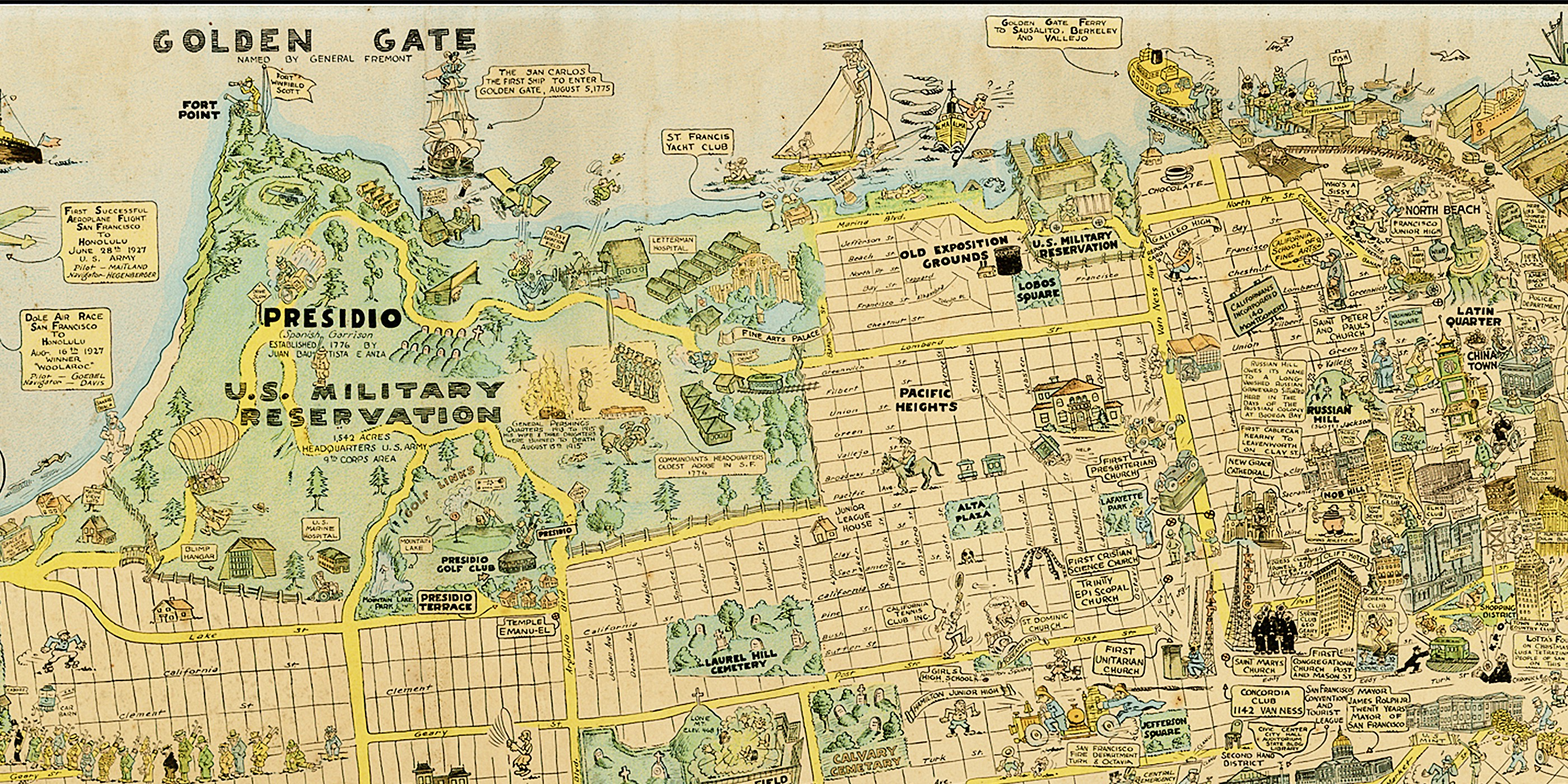 1927 Cartoon Map of SF is Awesome and Adorable — The Bold ... on omaha map, dallas map, london map, new york map, tokyo map, las vegas map, bay area map, san diego, salt lake city map, sydney australia map, boston map, kansas city map, detroit map, northern ca map, california map, berkeley map, usa map, new orleans map, golden gate park map, united states map, los angeles map, chicago map, sausalito map,
