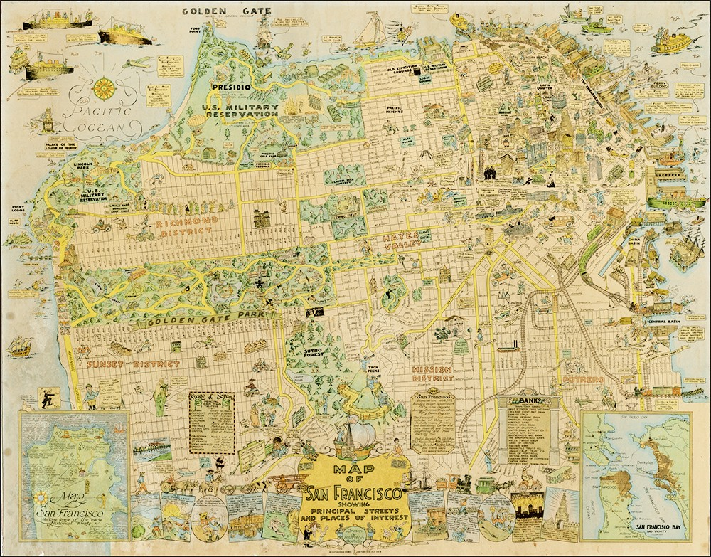 1927 Cartoon Map of SF is Awesome and Adorable — The Bold ... on chicago map, kansas city map, northern ca map, omaha map, bay area map, detroit map, berkeley map, united states map, sydney australia map, dallas map, new york map, san diego, boston map, california map, sausalito map, london map, new orleans map, usa map, salt lake city map, tokyo map, golden gate park map, las vegas map, los angeles map,