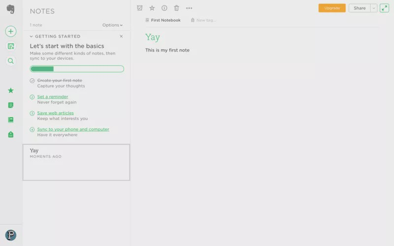 Evernote onboarding checklist example