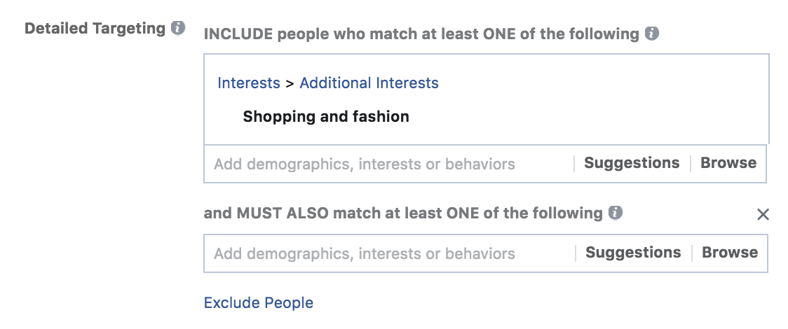 Facebook advertising layering audiences