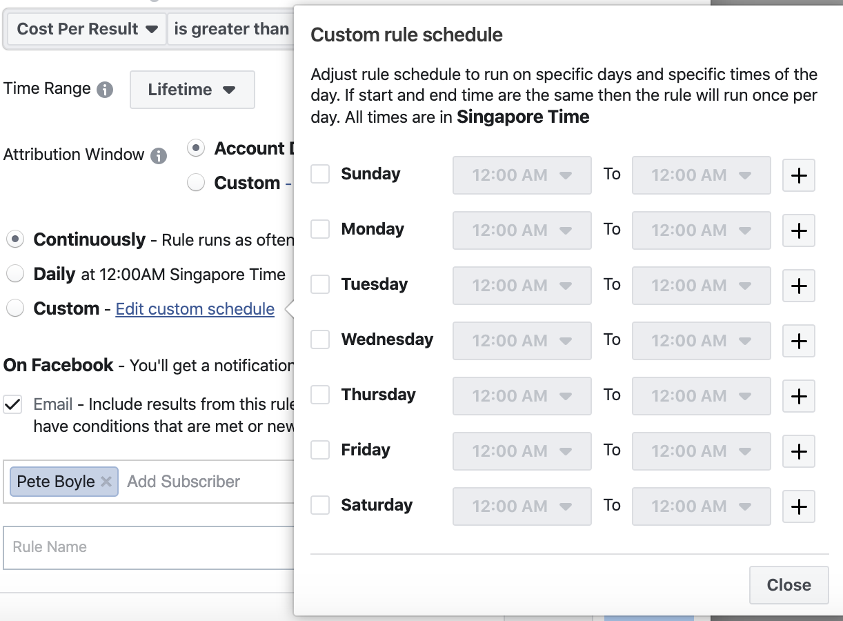 Facebook ad rules scheduling guide