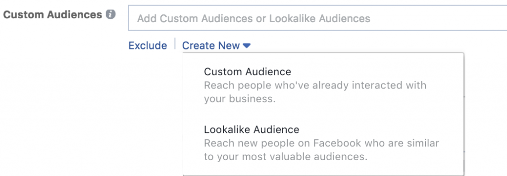 Facebook advertisement Custom Audiences