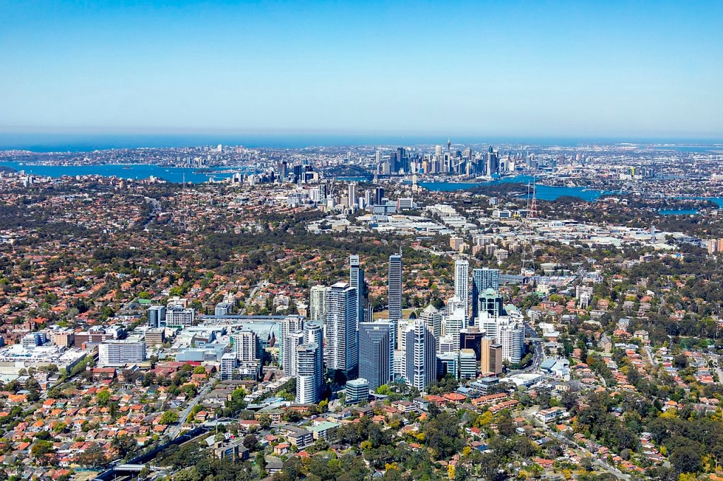Looking south over Chatswood, to St Leonards and Sydney City in the distance