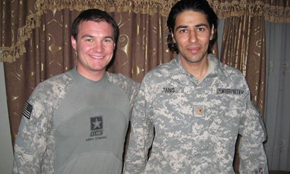 Army veteran Matt Zeller and Afghan interpreter Janis Sherwan in Afghanistan. Photo via No One Left Behind