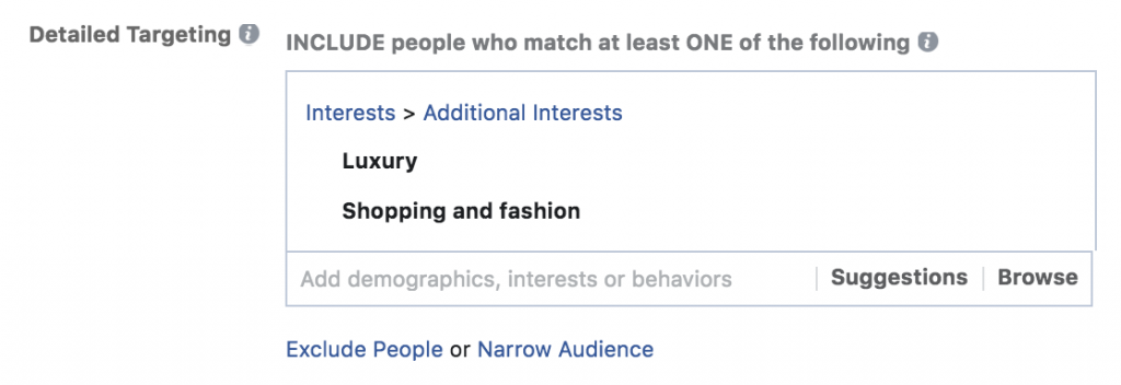 Facebook targeting with narrow audiences