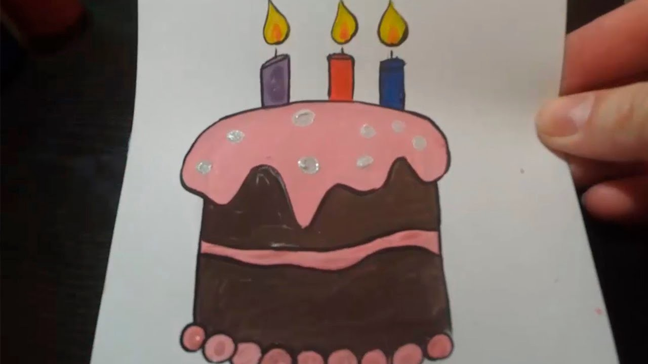 Swell How To Draw A Birthday Cake Youtube Candydadcom Medium Personalised Birthday Cards Paralily Jamesorg