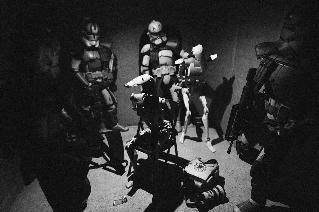 """Advanced Recon Commandos herd droids into a compound and await extraction after raiding a suspected Separatist intelligence cell in Mos Eisley, Tatooine."" Matthew Callahan photo"