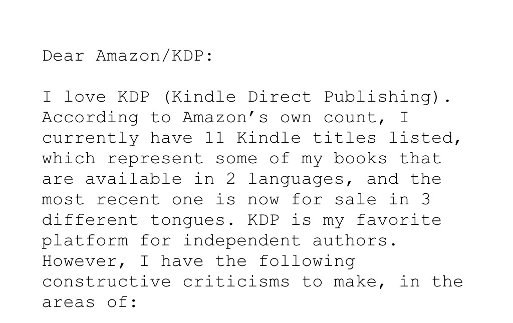 Open letter to KDP, Kindle Direct Publishing - The Writing