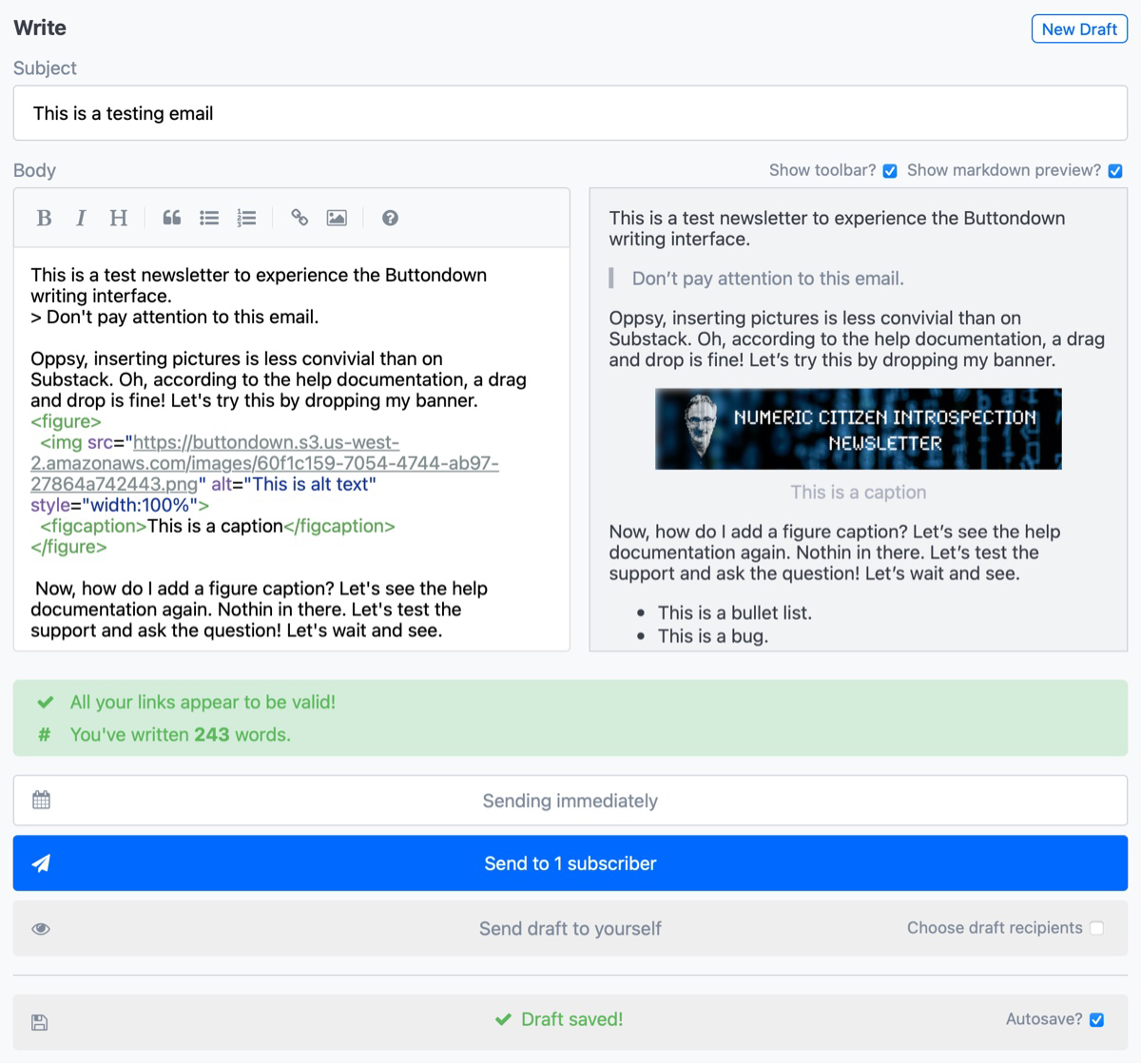 Buttondown newsletter editor with preview mode