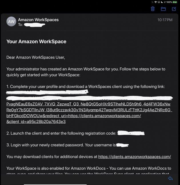 Sample Email with Workspaces Details