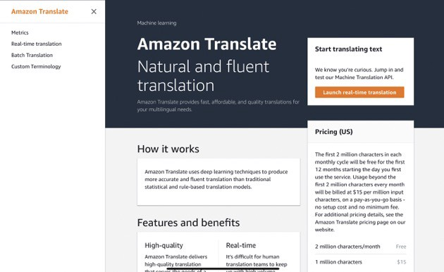 Amazon Translate Overview Page (by author)