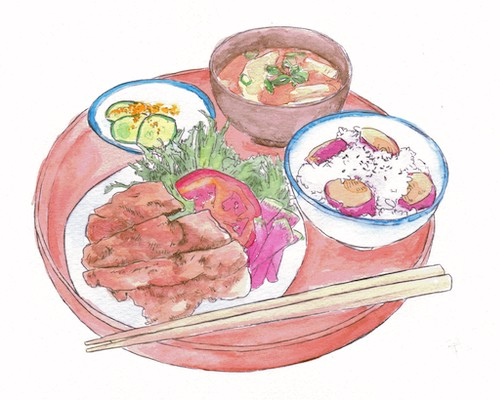 Watercolor illustration of a platter with a dish and three bowls of food, and chopsticks.
