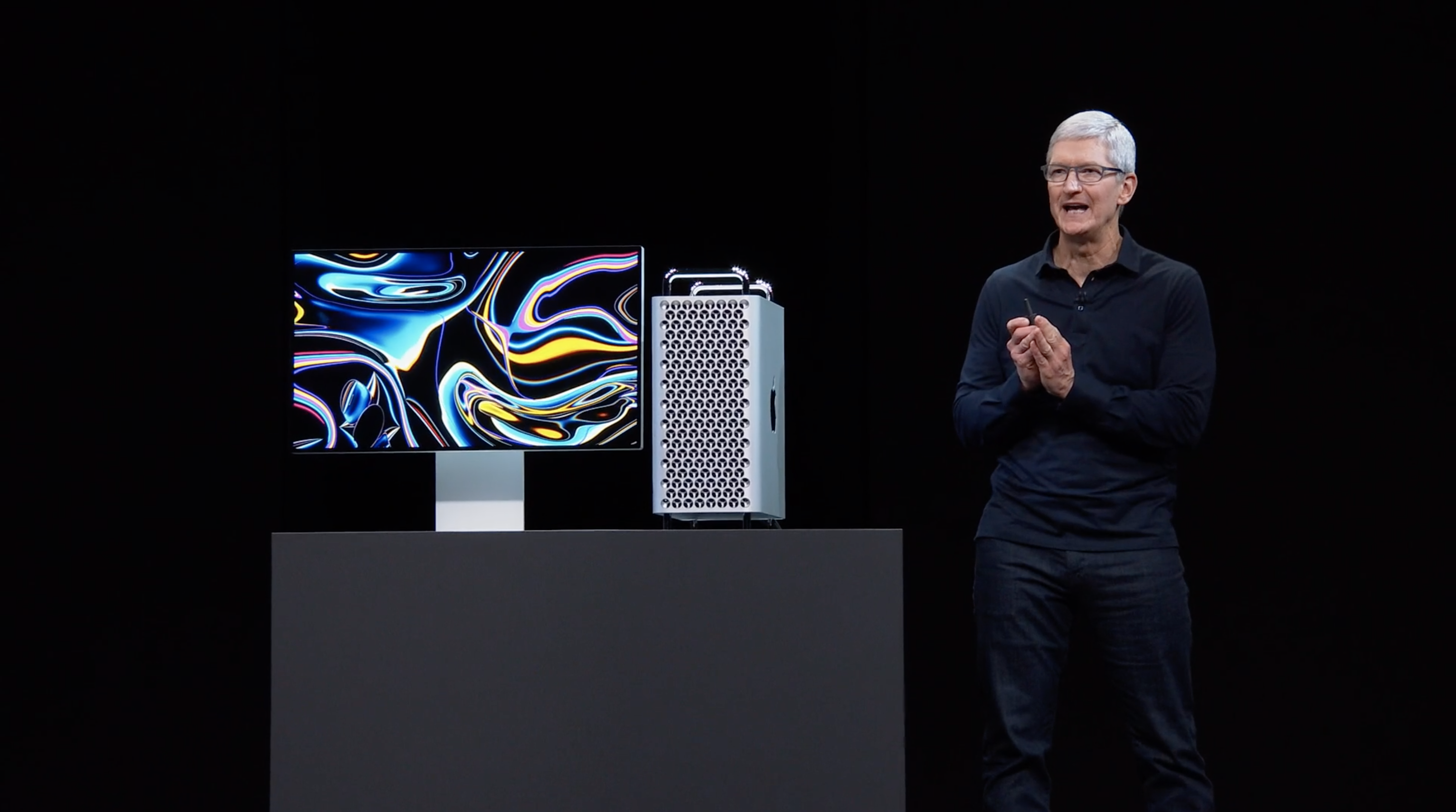 Tim Cook showing the new Mac Pro