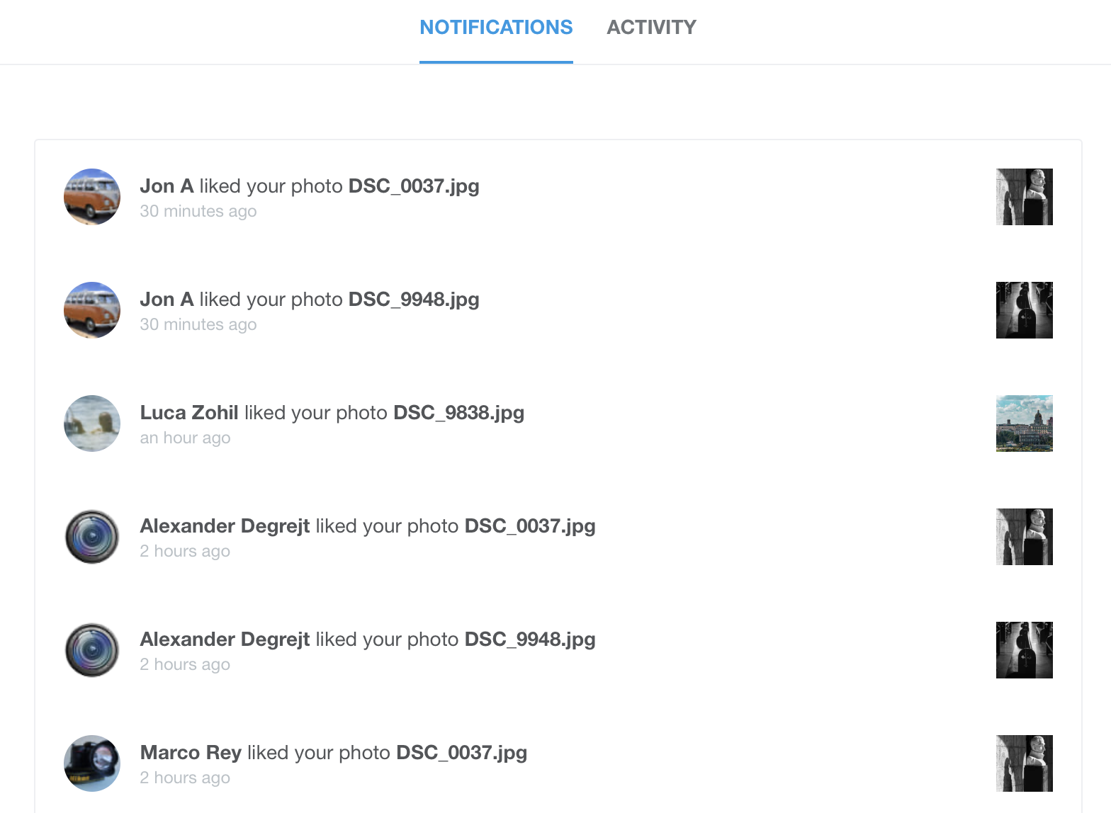 500px notifications view
