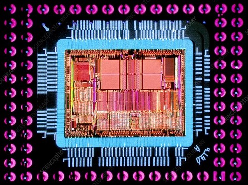 The silicon inside a CPU package.