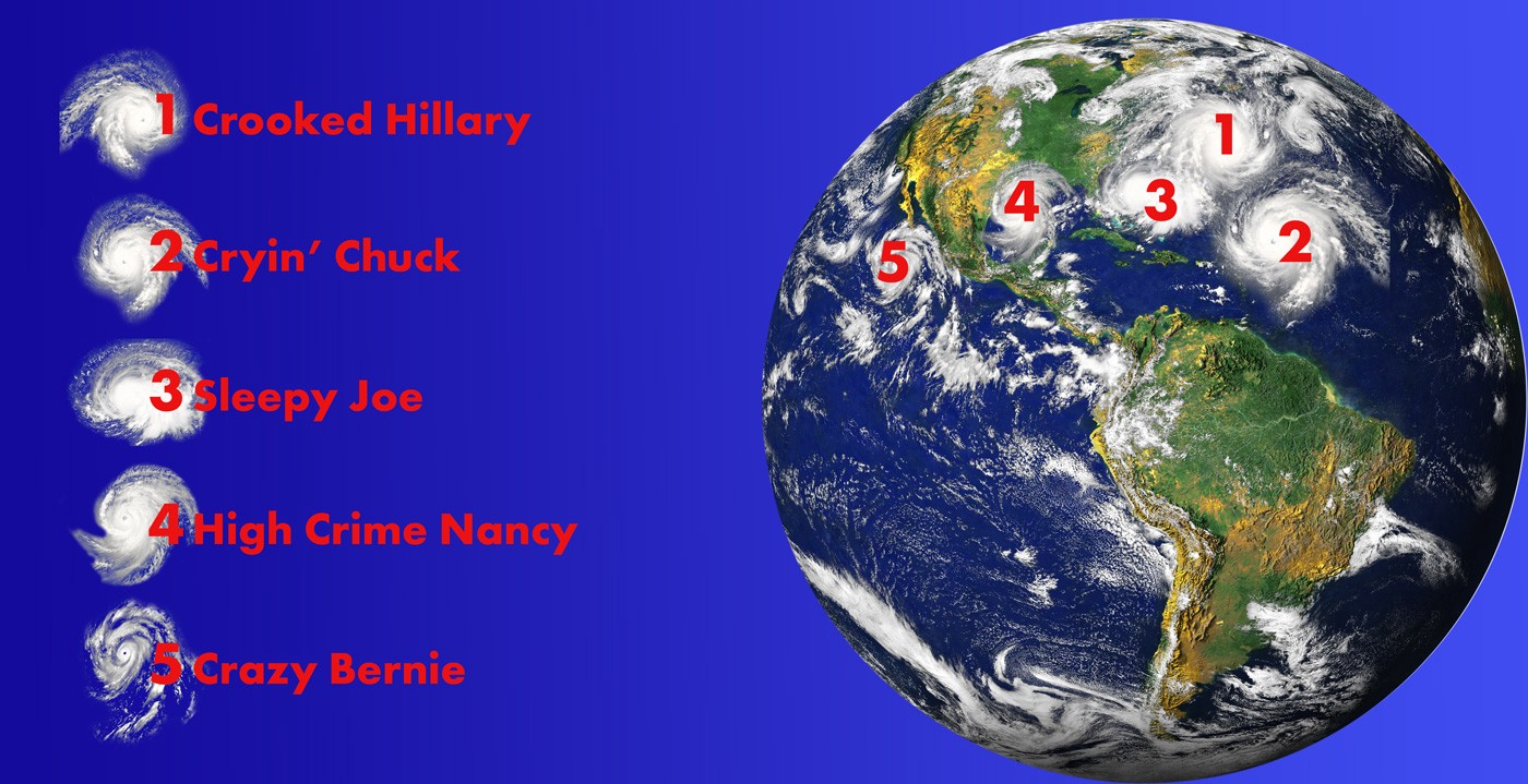 The White House's new hurricane map, with the official names for impending stoms.
