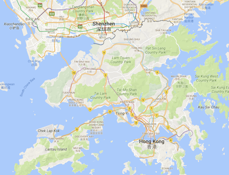 Shenzhen is located just north of Hong Kong. Image: Google Maps.