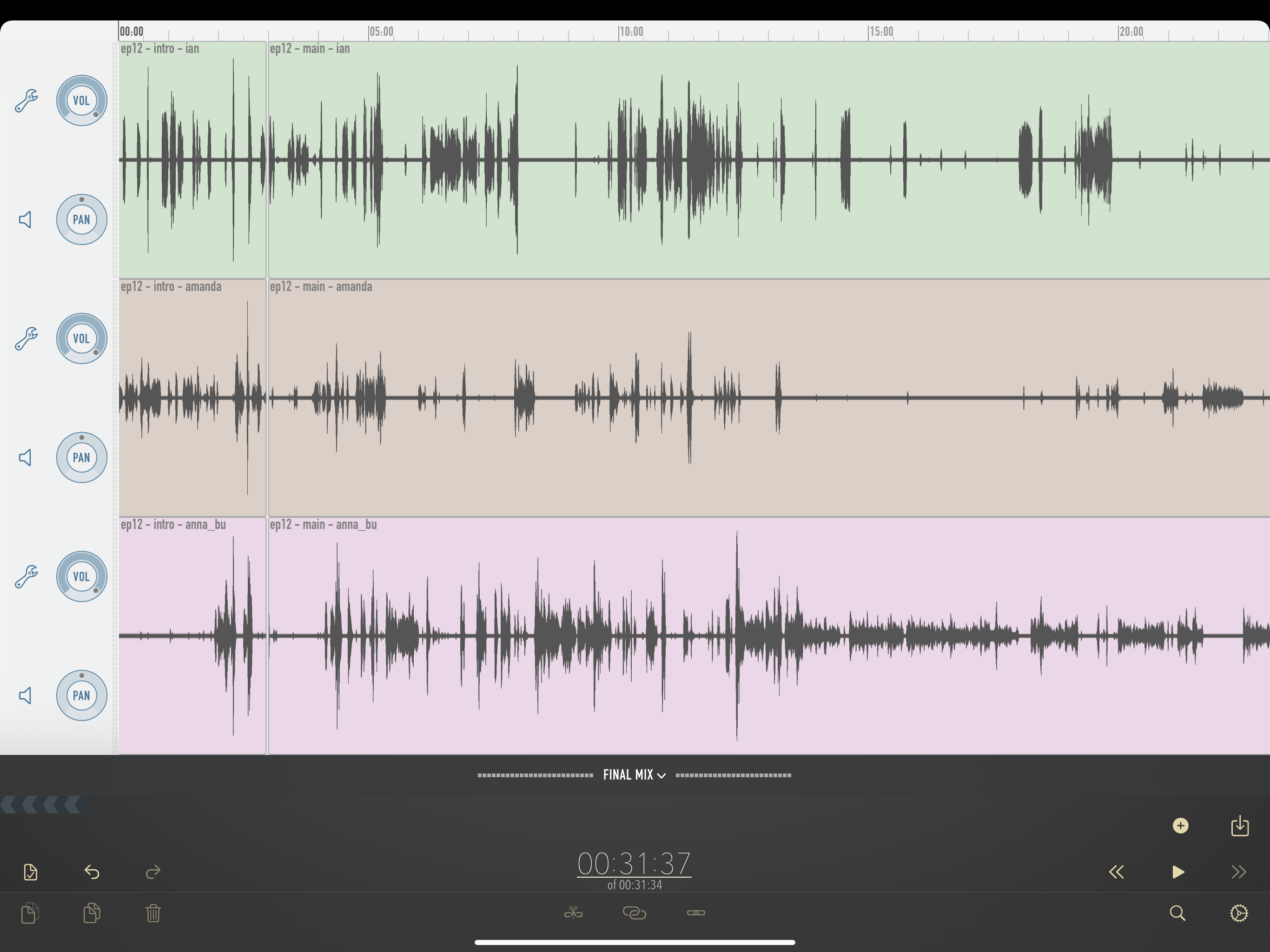 Ferrite Recording Studio screenshot, containing initial imported audio clips