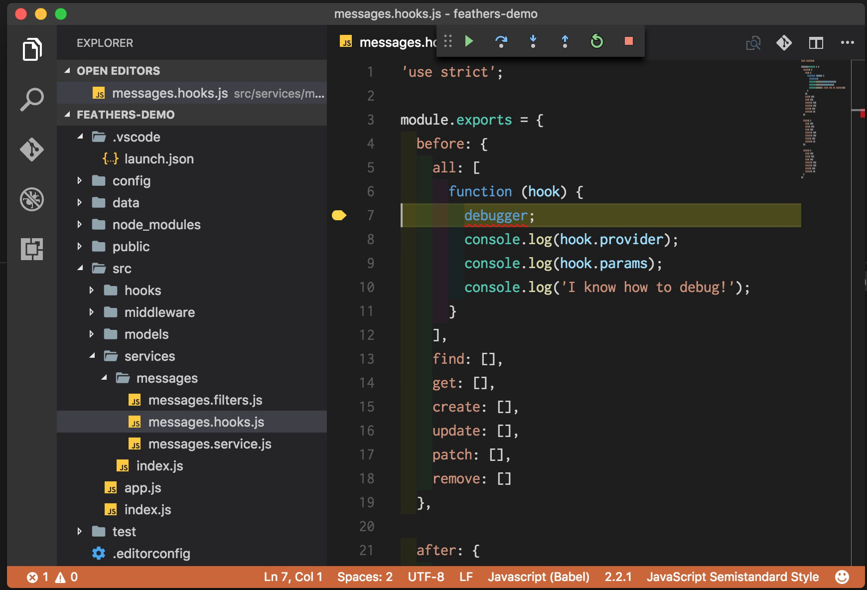 Debugging Feathers with Visual Studio Code - The Feathers
