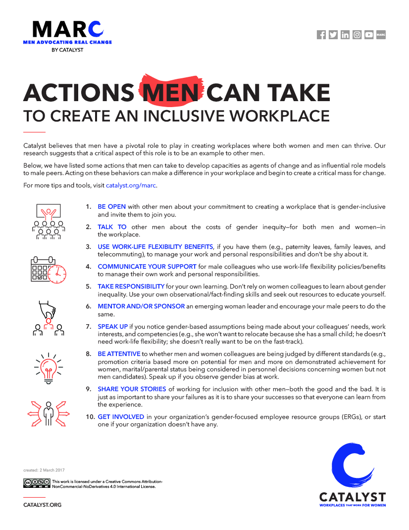 10 actions men can take to create an inclusive workplace (from Catalyst)