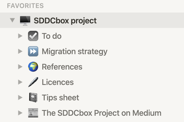 Using Notion for storing informations about my SDDCbox project